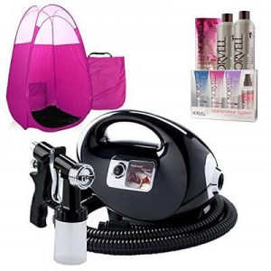 Black Fascination Spray Tan Machine, Pink Tent, Norvell Tan Solution Sunless Kit