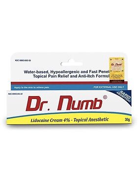 Dr. Numb Lidocaine Cream 4% Topical Anesthetic, 30 Gram