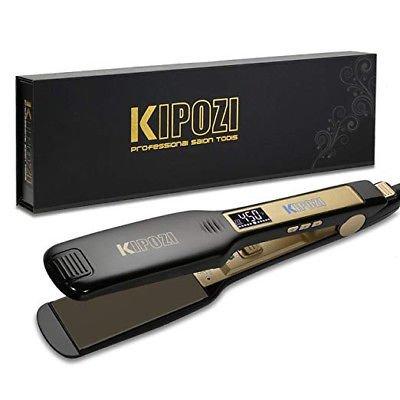 KIPOZI Professional Titanium Flat Iron Hair Straightener with Digital LCD Display, 1.75 Inch Wide
