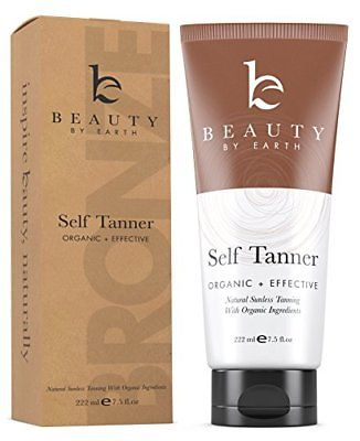 Self Tanner – Organic and Natural Ingredients Sunless Tanning Lotion and Best Bronzer Golden for Body and Face