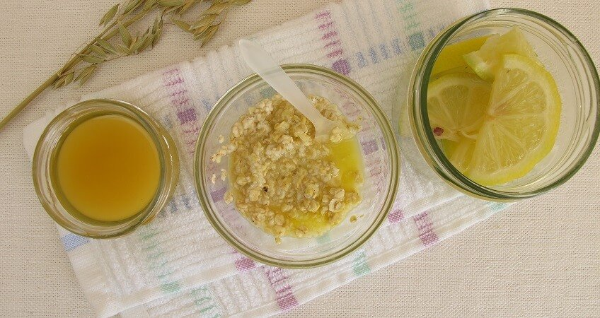 homemade scrub with sugar, honey, rolled oats, lemon juice
